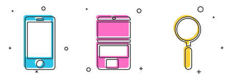 Set Mobile phone, Laptop and Magnifying glass icon. Vector Stock Illustratie