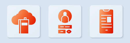 Set Create account screen, Cloud or online library and Online book on mobile. White square button. Vector