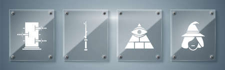 Set Witch, Masons, Magic wand and Trunk for magic tricks. Square glass panels. Vector
