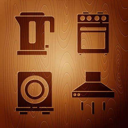 Set Kitchen extractor fan, Electric kettle, Electric stove and Oven on wooden background. Vector
