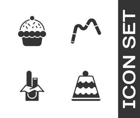 Set Cake, Cupcake, Chocolate bar and Jelly worms candy icon. Vector