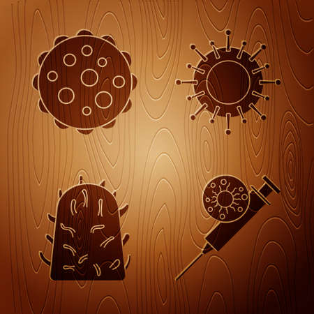 Set Syringe and virus, Virus, Rabies virus and Virus on wooden background. Vector