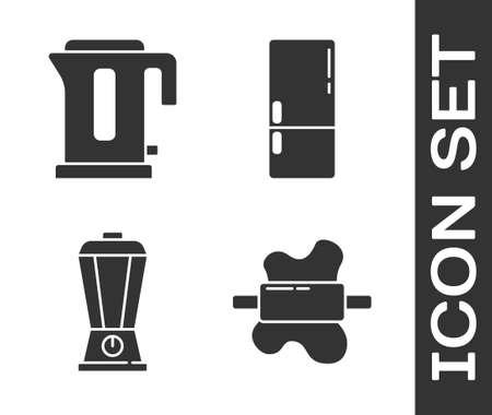 Set Rolling pin on dough, Electric kettle, Blender and Refrigerator icon. Vector Stock Illustratie