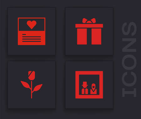Set Family photo, Greeting card, Gift box and Flower rose icon. Vector Vettoriali