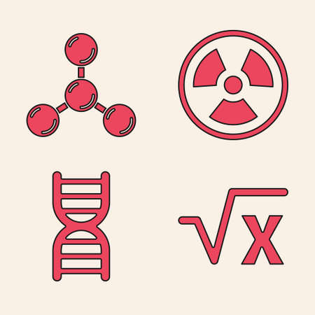 Set Square root of x glyph, Molecule, Radioactive and DNA symbol icon. Vector Ilustracja
