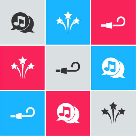 Set Musical note in speech bubble, Firework and Birthday party horn icon. Vector 일러스트