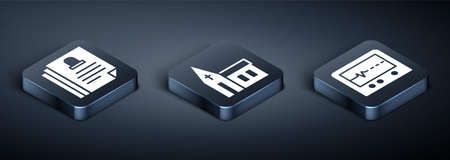 Set Isometric Death certificate, Beat dead in monitor and Church building icon. Vector