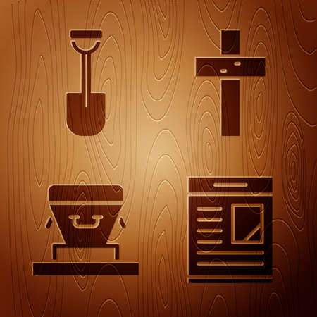 Set Obituaries, Shovel, Coffin and Christian cross on wooden background. Vector
