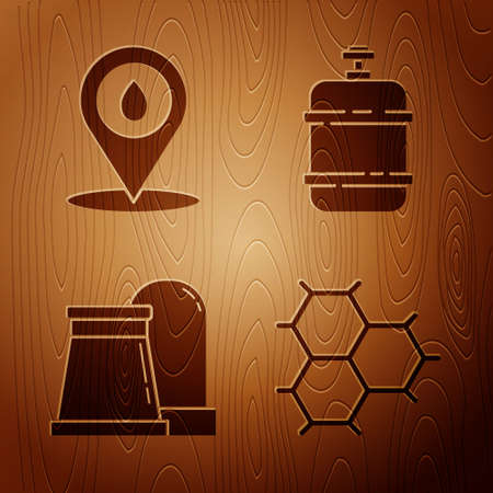 Set Chemical formula consisting of benzene rings, Refill petrol fuel location, Oil and gas industrial factory building and Propane gas tank on wooden background. Vector