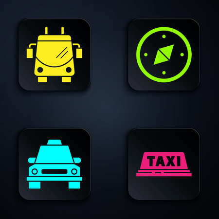 Set Taxi car roof, Trolleybus, Taxi car and Compass. Black square button. Vector Ilustracja