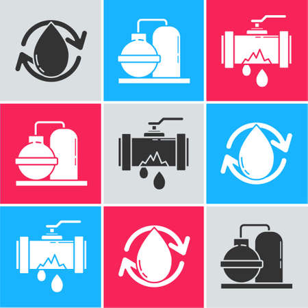 Set Oil drop, Oil and gas industrial factory building and Broken metal pipe with leaking water icon. Vector