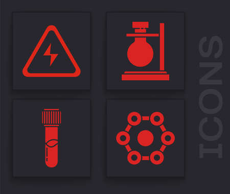 Set Chemical formula, High voltage sign, Test tube flask on stand and Test tube and flask chemical icon. Vector