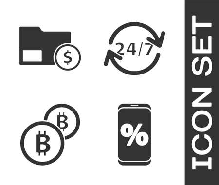 Set Percent discount and mobile, Envelope with coin dollar, Cryptocurrency coin Bitcoin and Clock 24 hours icon. Vector Illusztráció