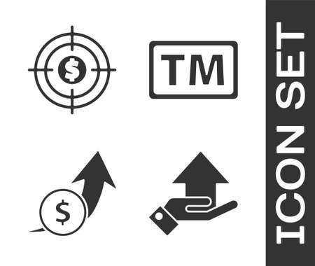 Set Money on hand, Target with dollar, Financial growth and coin and Trademark icon. Vector Vectores