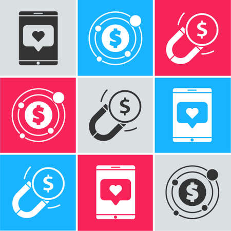 Set Mobile phone and like with heart, Target with dollar symbol and Magnet with money icon. Vector