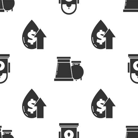 Set Petrol or Gas station, Oil and gas industrial factory building and Oil price increase on seamless pattern. Vector