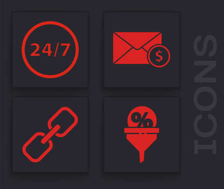Set Lead management, Clock 24 hours, Envelope with coin dollar and Chain link icon. Vector