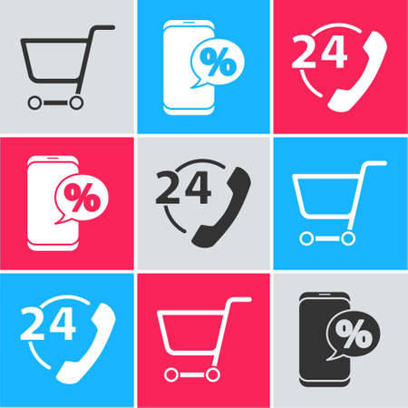Set Shopping cart, Percent discount and phone and Telephone 24 hours support icon. Vector