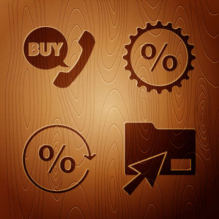 Set Cursor click document folder, Phone and speech bubble with Buy, Discount percent tag and Discount percent tag on wooden background. Vector