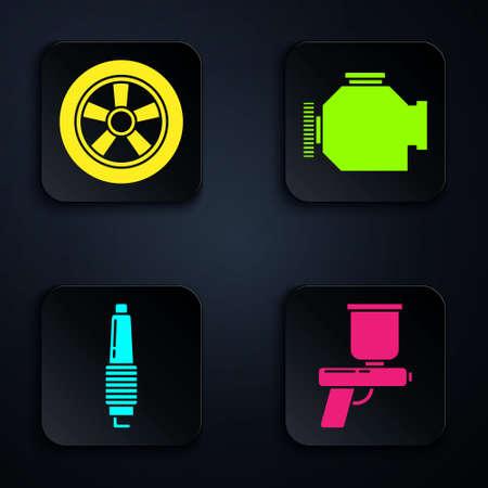 Set Paint spray gun, Car wheel, Car spark plug and Check engine. Black square button. Vector