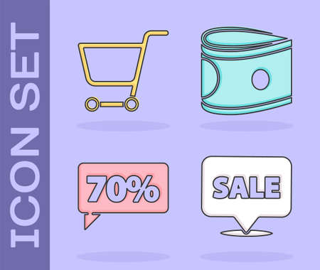 Set Hanging sign with Sale, Shopping cart, Seventy discount percent tag and Stacks paper money cash icon. Vector Illusztráció