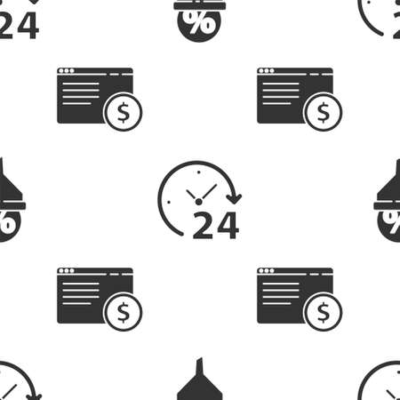 Set Lead management, Clock 24 hours and Online shopping on screen on seamless pattern. Vector