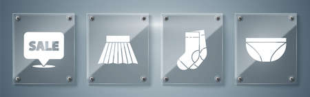 Set Underwear, Socks, Skirt and Hanging sign with Sale. Square glass panels. Vector