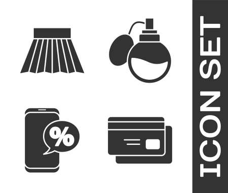 Set Credit card, Skirt, Percent discount and phone and Perfume icon. Vector