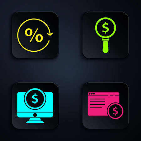 Set Online shopping on screen, Discount percent tag, Computer monitor with dollar and Magnifying glass and dollar. Black square button. Vector