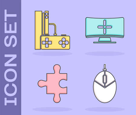 Set Computer mouse gaming, Game console with joystick, Piece of puzzle and Computer monitor icon. Vector
