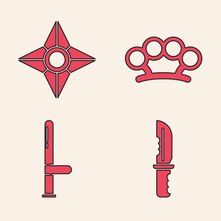 Set Military knife, Japanese ninja shuriken, Brass knuckles and Police rubber baton icon. Vector