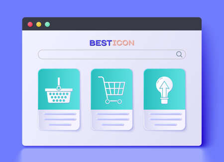 Set Shopping cart, Shopping basket and Light bulb icon. Vector