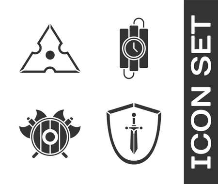 Set Medieval shield with sword, Japanese ninja shuriken, Medieval shield with crossed axes and dynamite stick and timer clock icon. Vector