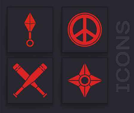 Set Japanese ninja shuriken, Japanese ninja shuriken, Peace and Crossed baseball bat icon. Vector
