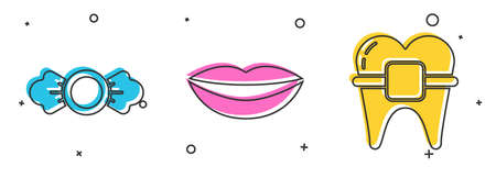 Set Candy, Smiling lips and Teeth with braces icon. Vector