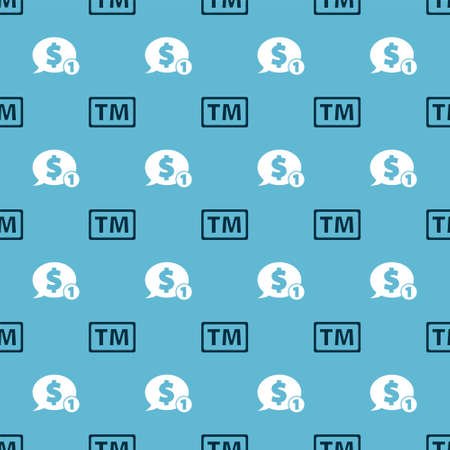 Set Trademark and Speech bubble with dollar on seamless pattern. Vector Stock Illustratie