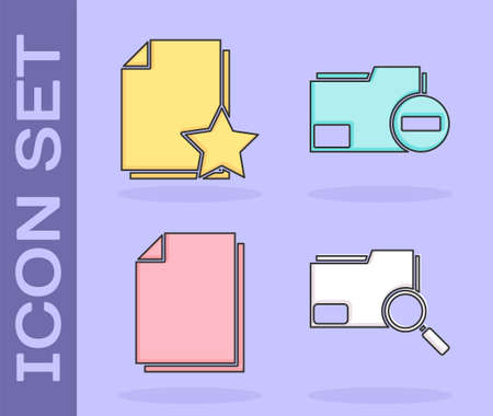 Set Search concept with folder, Document with star, Document and Document folder with minus icon. Vector