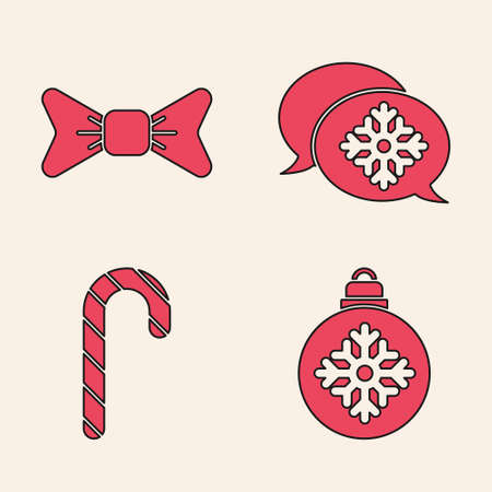 Set Christmas ball, Bow tie, Snowflake with speech bubble and Christmas candy cane with stripes icon. Vector Vettoriali