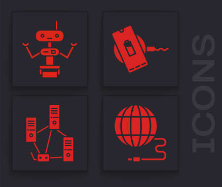 Set Social network, Robot, Wireless charger and Computer network icon. Vector