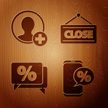 Set Percent discount and phone, Create account screen, Discount percent tag and Hanging sign with Closed on wooden background. Vector