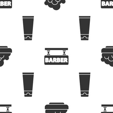Set Shaving gel foam, Barbershop and Cream or lotion cosmetic tube on seamless pattern. Vector Stock Illustratie