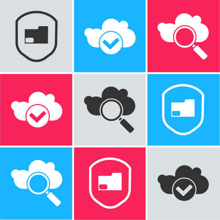 Set Document folder protection, Cloud with check mark and Search cloud computing icon. Vector