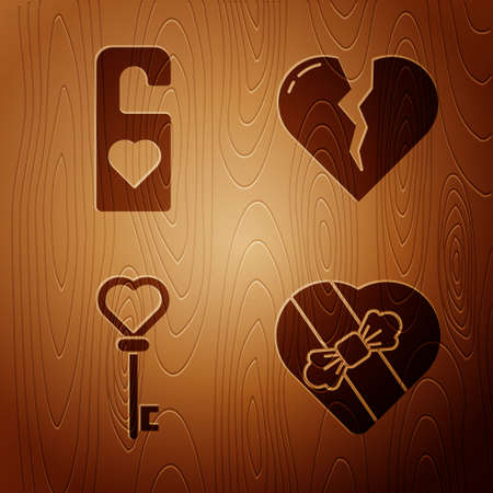 Set Candy in heart shaped box, Please do not disturb with heart, Key in heart shape and Broken heart or divorce on wooden background. Vector