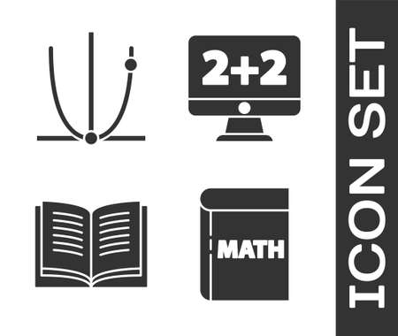 Set Book with word mathematics, Graph, schedule, chart, diagram, Open book and Equation solution icon. Vector
