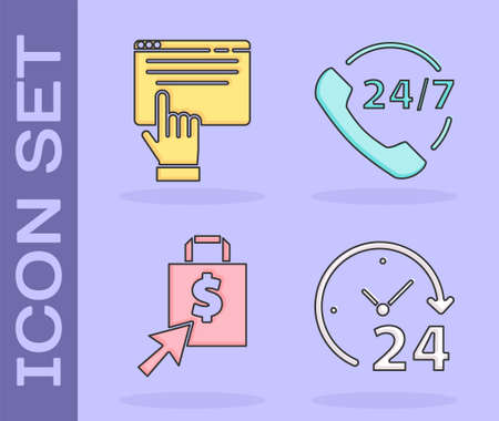 Set Clock 24 hours, Online shopping on screen, Shopping bag and dollar and Telephone 24 hours support icon. Vector