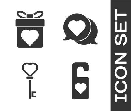 Set Please do not disturb with heart, Gift box with heart, Key in heart shape and Heart in speech bubble icon. Vector
