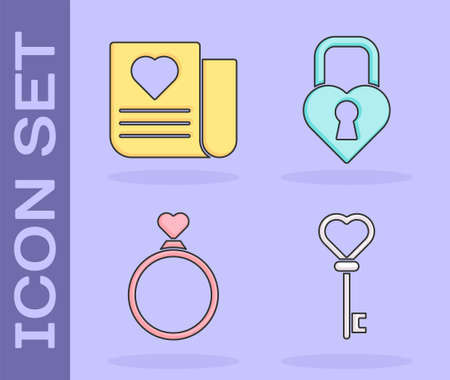 Set Key in heart shape, Envelope with Valentine heart, Wedding rings and Castle in the shape of a heart icon. Vector