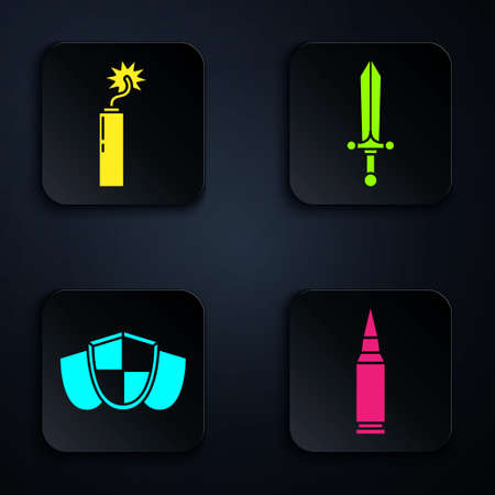Set Bullet, Dynamite bomb stick clock, Shield and Medieval sword. Black square button. Vector