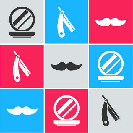 Set Makeup powder with mirror, Straight razor and Mustache icon. Vector Stock Illustratie