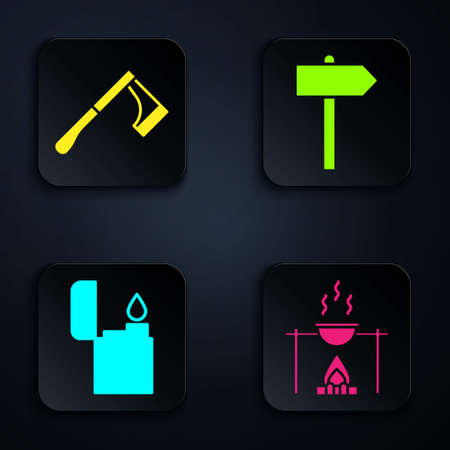 Set Campfire and pot, Wooden axe, Lighter and Road traffic signpost. Black square button. Vector